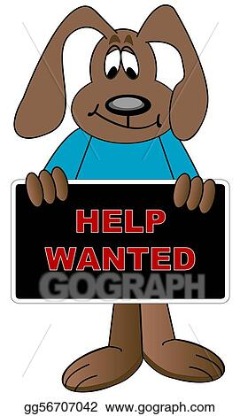 stock illustrations cartoon dog holding up help wanted sign stock rh gograph com School Clip Art Thank You Clip Art