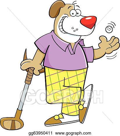 cartoon dog playing golf