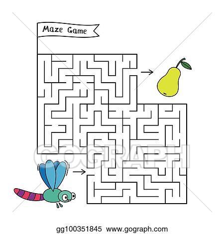 EPS Illustration - Cartoon dragonfly maze game  Vector