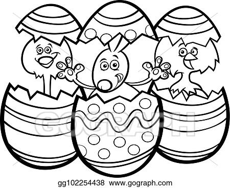 Cartoon Easter Bunny And Chickens Color Book