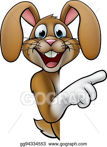Easter bunny peeking. Vector illustration cartoon rabbit