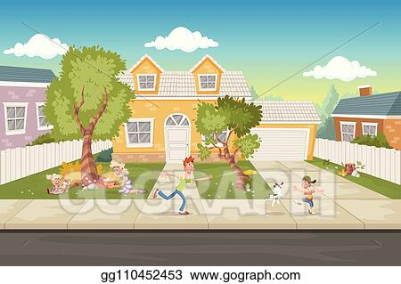 Vector Art Cartoon Family In Front Of A House Suburb Neighborhood Clipart Drawing Gg110452453 Gograph