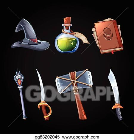 Vector Art Cartoon Fantasy Magic And Weapons Vector Icons Set For