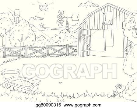 Clip Art Vector - Cartoon farm color book black and white outline ...