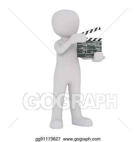 stock illustration cartoon film crew worker with clapperboard