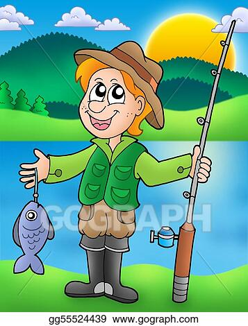how to draw a fisherman