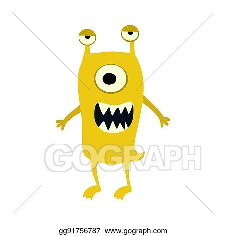 Vector Art Cartoon Flat Monsters Big Icon Colorful Kid Toy Cute