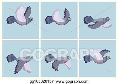 vector art cartoon flying pigeon animation sprite eps clipart