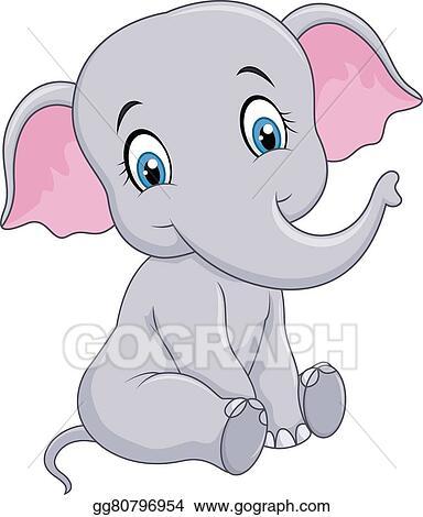 vector art cartoon funny baby elephant sitting clipart drawing
