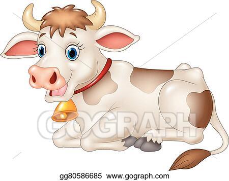 Cow sitting. Vector art cartoon funny