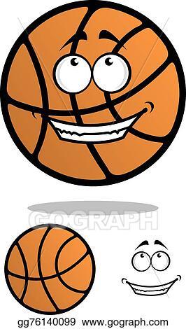 Vector Clipart Cartoon Funny Orange Basketball Ball Vector Illustration Gg76140099 Gograph