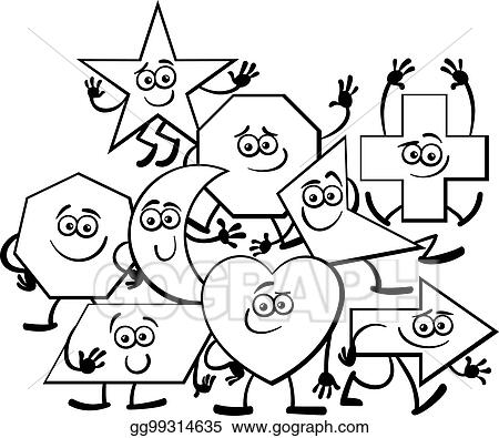 vector art cartoon geometric shapes coloring page clipart drawing