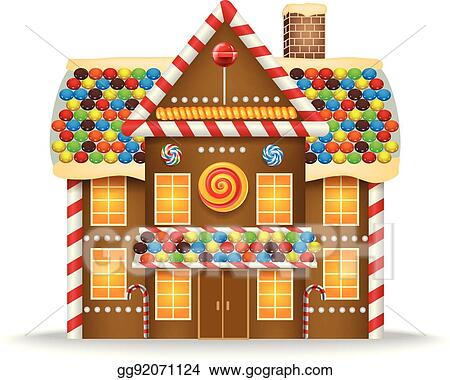 Christmas Gingerbread House Cartoon.Eps Illustration Cartoon Gingerbread House Vector Clipart