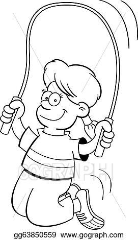 Vector Art - Cartoon girl jumping rope. EPS clipart ...