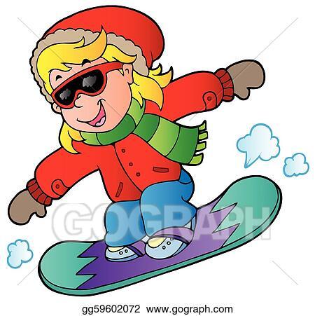 vector art cartoon girl on snowboard clipart drawing gg59602072 rh gograph com snowboarding clipart snowboard clip art free