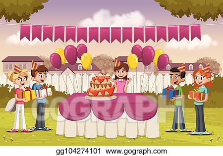 Clip Art Vector Cartoon Girl With Her Friends At A Birthday Party In The Backyard Of A Colorful House Stock Eps Gg104274101 Gograph