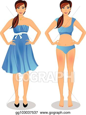 Cartoon With Long Brown Hair In Blue Dress And