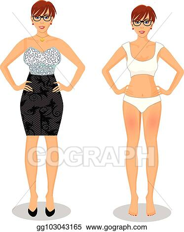 Vector Stock Cartoon Girl With Short Brown Hair In Black Dress And