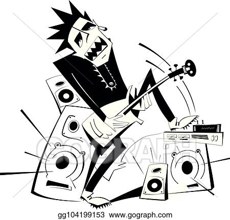 Vector Art Cartoon Guitar Player Black On White Isolated Illustration Clipart Drawing Gg104199153 Gograph