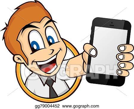 Vector Art - Cartoon guy holding phone. Clipart Drawing
