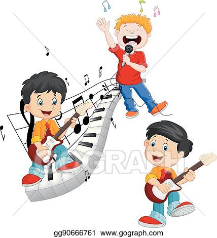 Vector Clipart Cartoon Happy Kids Singing And Playing Music