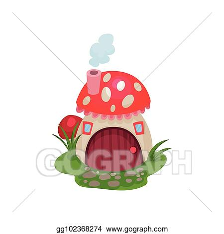 Vector Stock Cartoon Hobbit House In Form Of Mushroom With Red Spotted Roof Fantasy Home With Wooden Door And Tiny Windows Flat Vector Design For Kids Book Or Mobile Game Clipart