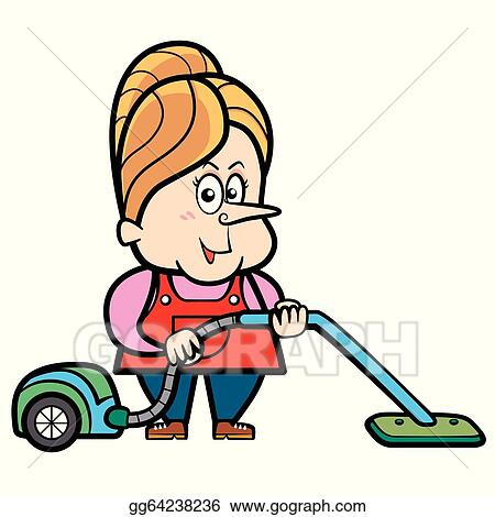 Eps Illustration Cartoon Housewife With A Vacuum Cleaner Vector Clipart Gg64238236 Gograph