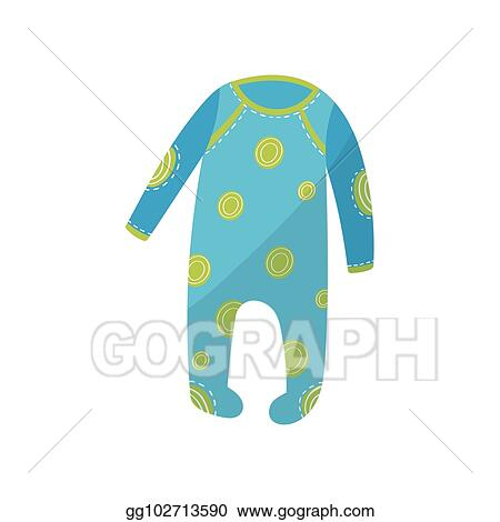 19fbad5621b8 Vector Art - Cartoon icon of blue baby romper with green round ...