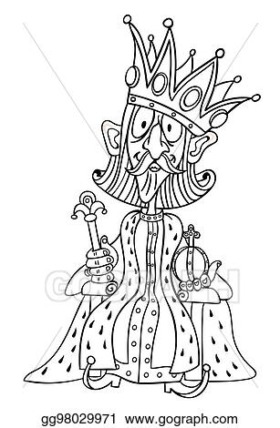 Vector Art Cartoon Image Of King With Huge Crown Clipart