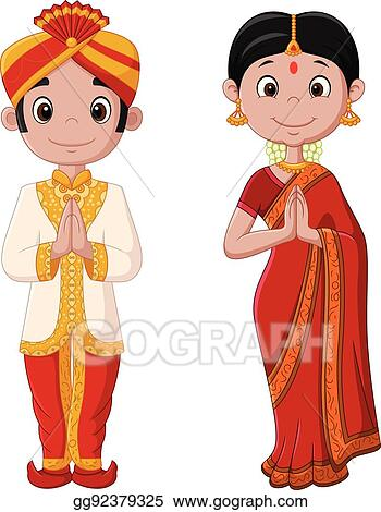 558066e284 EPS Illustration - Cartoon indian couple wearing traditional costume ...