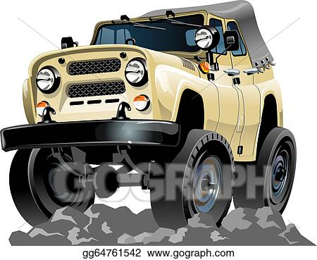 Eps Vector Cartoon Jeep Stock Clipart Illustration Gg64761542 Gograph