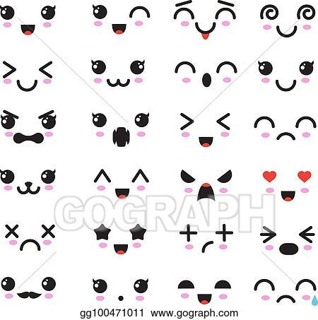 Vector Art Cartoon Kawaii Eyes And Mouths Cute Emoticon Emoji