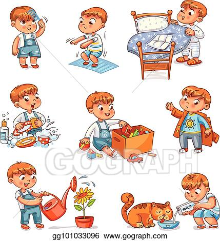 Vector Stock Cartoon Kid Daily Routine Activities Set Clipart Illustration Gg101033096 Gograph