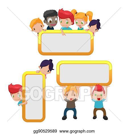 EPS Vector - Cartoon kids cute frame border vector. Stock Clipart ...