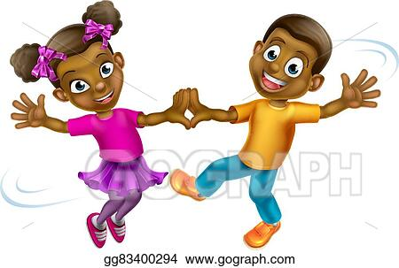 vector art cartoon kids dancing clipart drawing gg83400294 gograph rh gograph com Dancing Group Clip Art Dancing Girl Clip Art