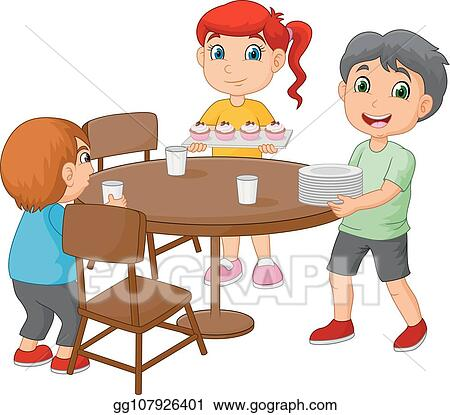 Vector Clipart - Cartoon kids setting the dining table by ...