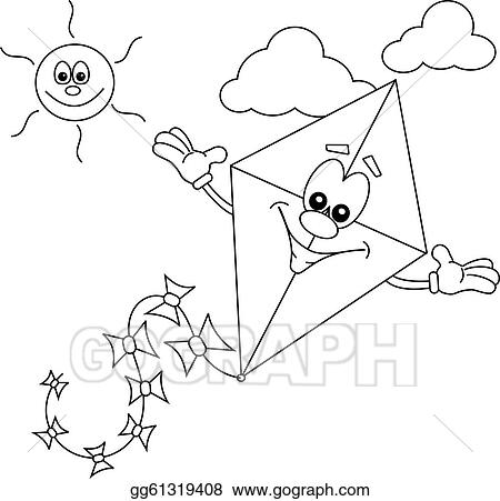 Clip Art Vector - Cartoon Kite. Stock EPS Gg61319408 - GoGraph