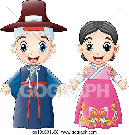 Vector Clipart Cartoon Korean Couple Wearing Traditional Costumes