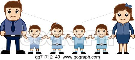 Vector Stock Cartoon Large Family Characters Clipart Illustration