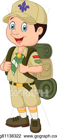 vector art cartoon little boy scout clipart drawing gg81138322 rh gograph com boy scout camping clipart boy scout clipart png