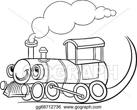 Vector Clipart Cartoon Locomotive Or Engine Coloring Page Vector
