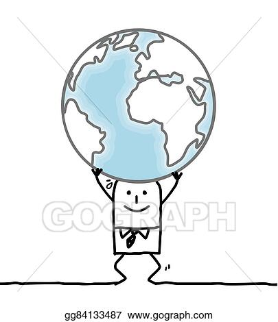 drawing cartoon man carrying the earth clipart drawing gg84133487