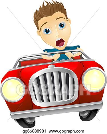 Eps Vector Cartoon Man Driving Fast Car Stock Clipart