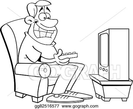tv clipart black and white. vector art - black and white illustration of a man watching television. clipart drawing gg82516577 tv