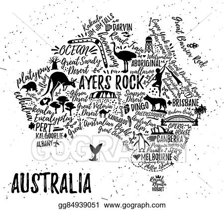 vector art cartoon map of australia eps clipart gg84939051 gograph https www gograph com clipart license summary gg84939051