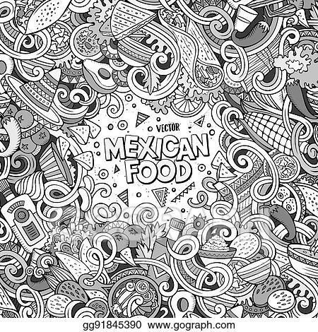 Vector Illustration Cartoon Mexican Food Doodles Illustration Eps