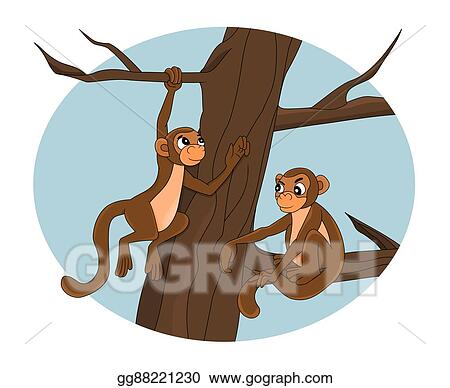 stock illustrations cartoon monkeys on a tree stock clipart