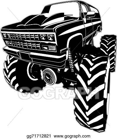 Vector Art Cartoon Monster Truck Clipart Drawing Gg71712821 Gograph