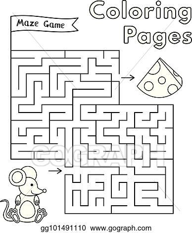 vector art cartoon mouse maze game clipart drawing gg101491110