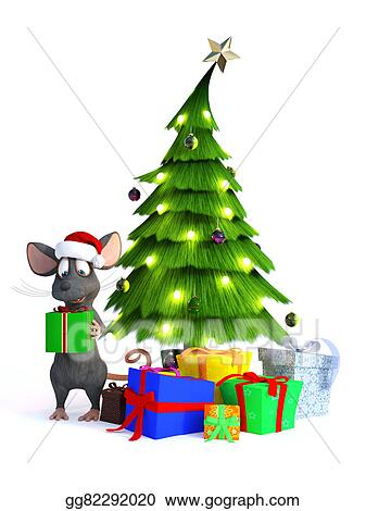 Stock Illustration Cartoon Mouse With Christmas Gifts Clipart